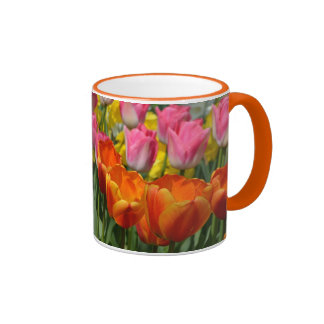 Orange and pink tulips coffee mug
