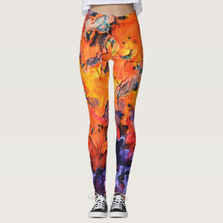 Orange and purple abstract leggings