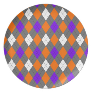 Orange and Purple Argyle Party Plates