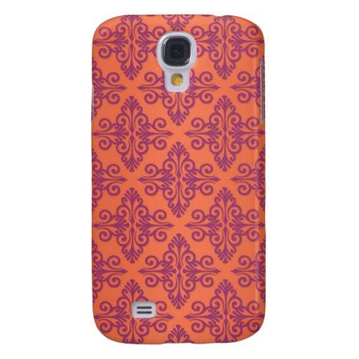 Orange and Purple Damask HTC Vivid Cases