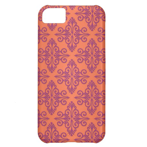 Orange and Purple Damask Cover For iPhone 5C