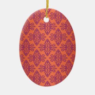 Orange and Purple Damask Ceramic Oval Decoration