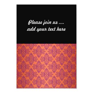 Orange and Purple Damask 5x7 Paper Invitation Card