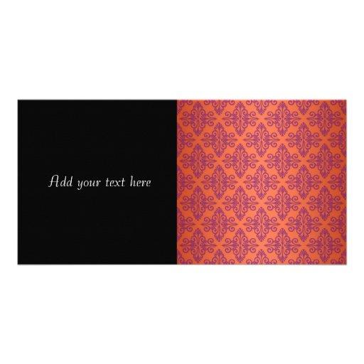 Orange and Purple Damask Personalized Photo Card
