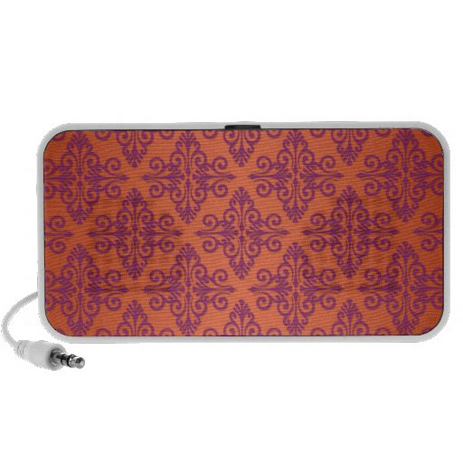 Orange and Purple Damask Travel Speakers