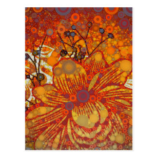 Orange and Purple Floral Modern Pop Art Postcard