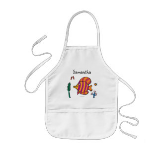 Orange and Purple Tropical Fish with Seahorses Kids Apron