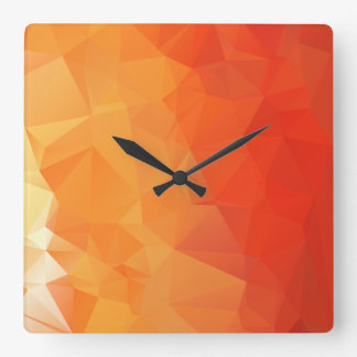 Orange and Red Facet Pattern Clocks