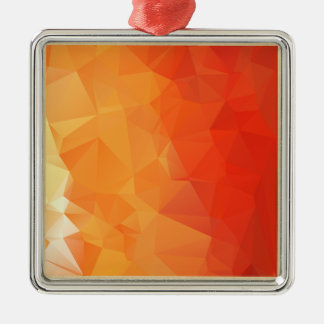 Orange and Red Facet Pattern Silver-Colored Square Decoration