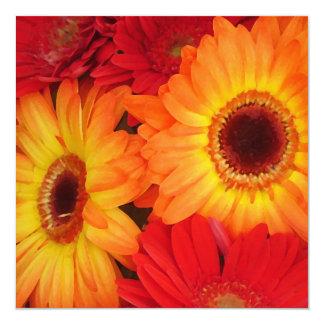 Orange and Red Gerber Daisies 13 Cm X 13 Cm Square Invitation Card