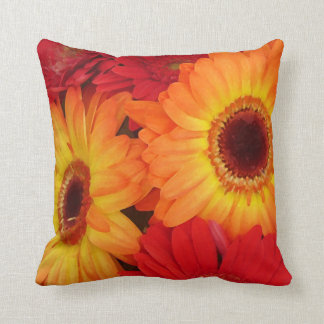 Orange and Red Gerber Daisies Throw Pillow