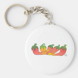 Orange and Red Peppers Basic Round Button Key Ring