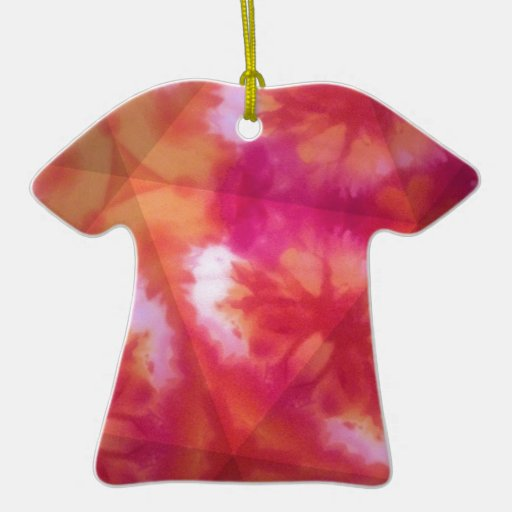 Orange and red tie dye christmas tree ornaments