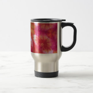 Orange and red tie dye stainless steel travel mug