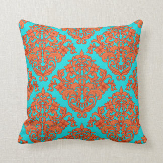 Orange and Turquoise Damask Throw Pillow
