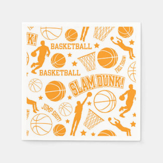 Orange and White Basketball Pattern Disposable Serviette