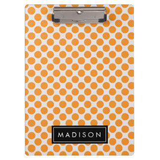 Orange and White Big Polka Dots Monogram Clipboard
