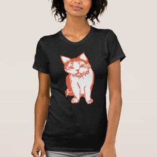 Orange and White Cat Women's Black T-Shirt