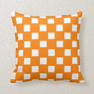 Orange and White Checked Pillows