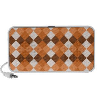 Orange and White Checks Portable Speaker