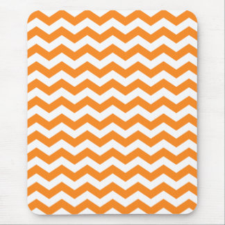Orange and White Chevron Stripes Mouse Pad