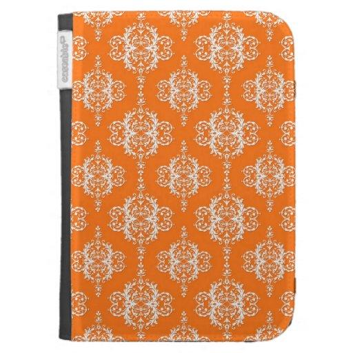 Orange and White Damask Pattern Kindle 3 Cases