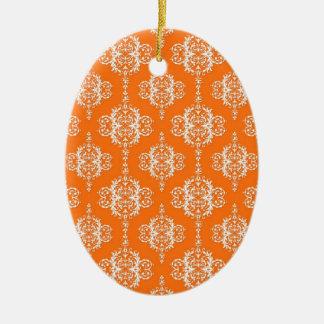 Orange and White Damask Pattern Ceramic Oval Decoration
