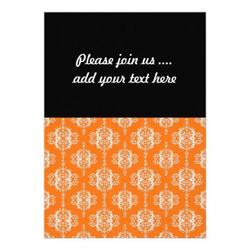 Orange and White Damask Pattern Personalized Invitation