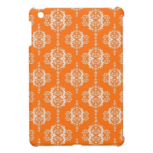 Orange and White Damask Pattern iPad Mini Cover