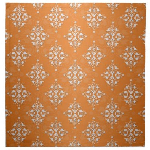 Orange and White Damask Pattern Cloth Napkin