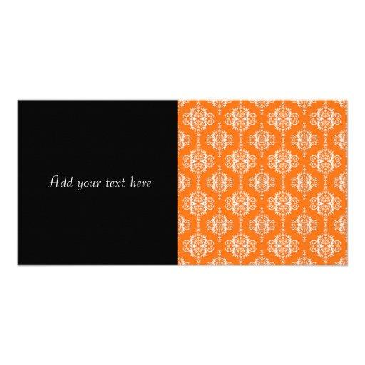 Orange and White Damask Pattern Photo Greeting Card