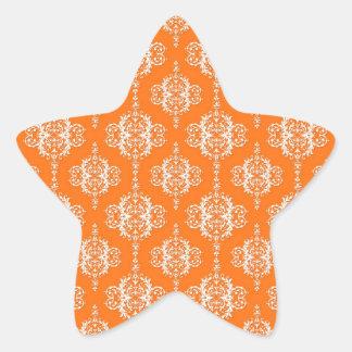 Orange and White Damask Pattern Star Sticker