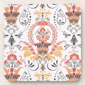 Orange and white damask set of 4 coasters