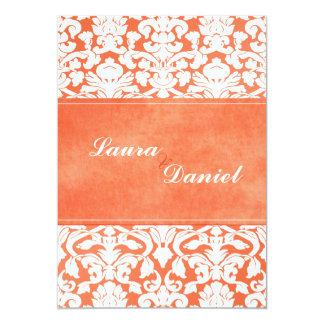 Orange and White Damask Wedding Invite