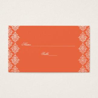 Orange and White Damask Wedding Place Cards