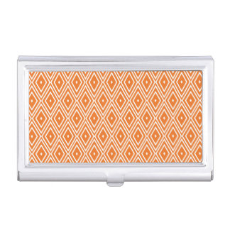 Orange and White Diamonds Design Business Card Cases
