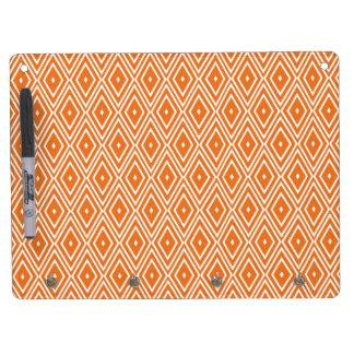 Orange and White Diamonds Design Dry Erase Board With Key Ring Holder
