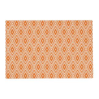 Orange and White Diamonds Design Laminated Placemat