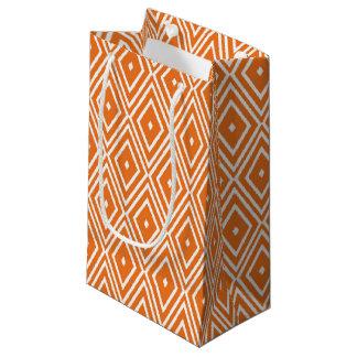 Orange and White Diamonds Design Small Gift Bag