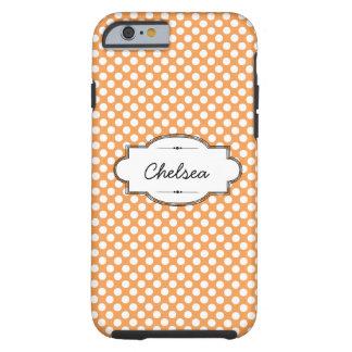 Orange and White Dots Custom iPhone 6 Tough Case