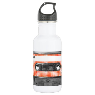 Orange and White Houndstooth Label Cassette 532 Ml Water Bottle