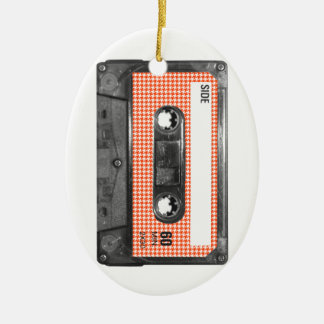 Orange and White Houndstooth Label Cassette Ceramic Oval Decoration