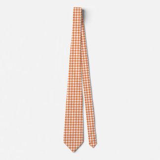 Orange and white houndstooth tie