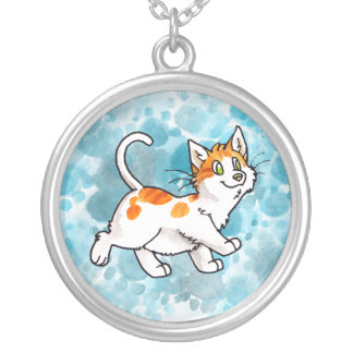 Orange and White Kitty Necklace