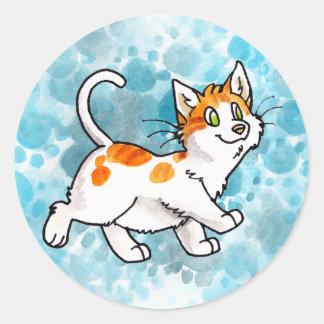 Orange and White Kitty Round Sticker