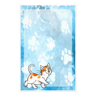 Orange and White Kitty Stationery