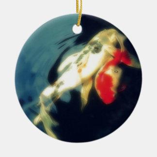 Orange and White Koi on Black Ornament