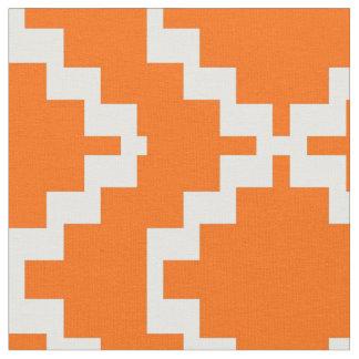 Orange and White Mexica Fabric