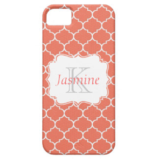 Orange and White Monogram Case Cover For iPhone 5/5S