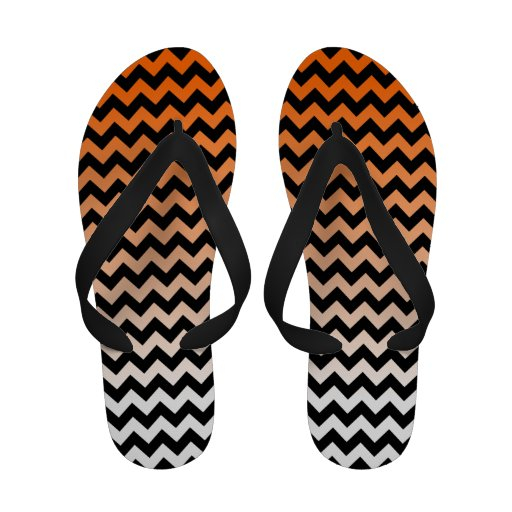 Orange and White Ombre with Black Chevon Flip-Flops